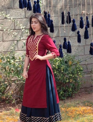 Embroidered Ladies Kurti With Skirt