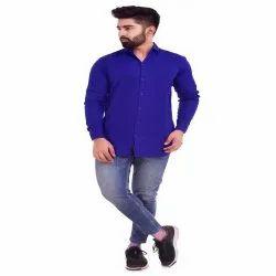 Blue Solid Color Men''s Shirts