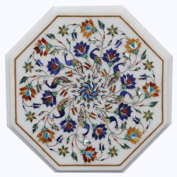 White Marble Coffee Center Table Top Mosaic Arts