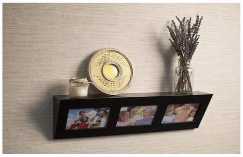 Home Sparkle Wooden Photo Frame Wall Shelf Black Deewar Par Lagi