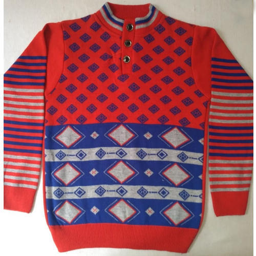 937d110d7597 Red And Blue Casual Wear Boys Woolen Pullover Sweater