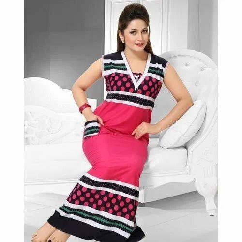 Ladies Printed Full Length Fancy Nightwear Gown 5820dec8f