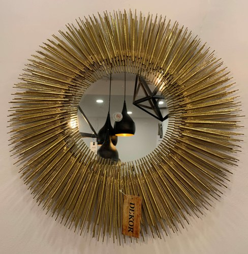 Dekor Golden Metal Art Sun Mirror Wall Decor For Home Decoration Size 24 Inches Diameter Rs 3900 Piece Id 22350740948