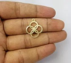 Gold Plated Brushed Fancy Clover Shaped Charms