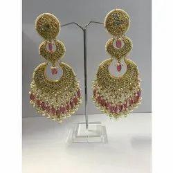 22 Carat Gold Kundan Meena Earrings, 35 G