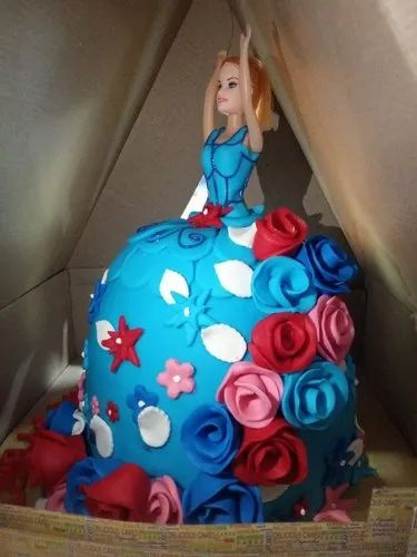 Fantastic Round Barbie Doll Birthday Cake Packaging Type Box Rs 1200 Birthday Cards Printable Opercafe Filternl