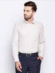 Cotton Lemra Luton Cream Premium Check Shirt