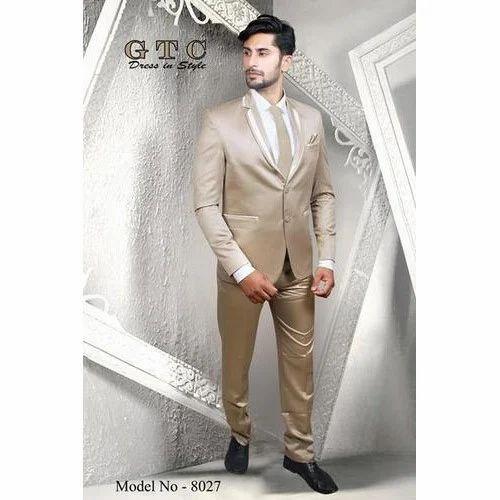 51effa3cecc Men  s Designer Shinning Light Brown 3-Piece Suit