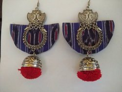 Jhumka Handloom Fabric Earrings