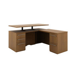 Brown Wooden Office Reception Table