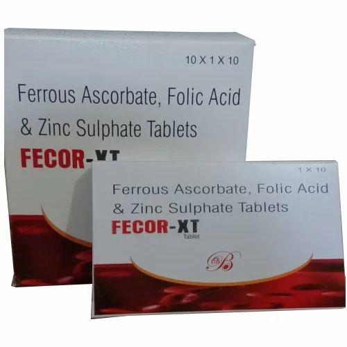 Ferrous Ascorbate, Folic Acid & Zinc Sulphate  Tablet, 100 Tablets, Packaging Type: 10x1x10