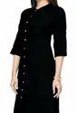 Women's Cotton Regular Kurta in black