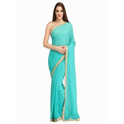 d15feb4bb40eb7 Sky Blue Party Wear Plain Georgette Saree, Rs 390 /piece | ID ...