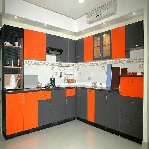 pvc l shape modular kitchen kitchen cabinets rs 1300