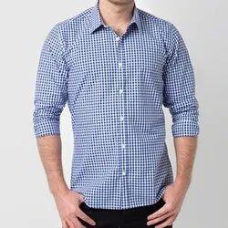 Collar Neck Mens Cotton Small Check Shirt, Machine Wash and Handwash, Size: M-xxl