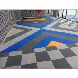 Nylon, PP Rectangular Printed Carpet Tile, Thickness: 5-7 mm