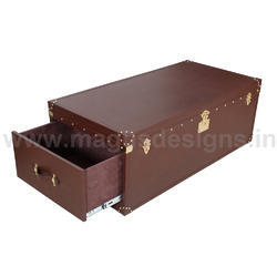 Brown Dual Drawer Genuine Leather Coffee Table, Center Table