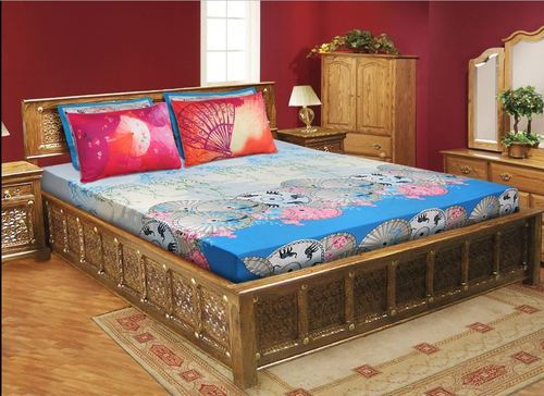 0820ee95b9 Blue Cotton Double Bedsheet With 4 Pillow Covers, Rs 2159 /set | ID ...