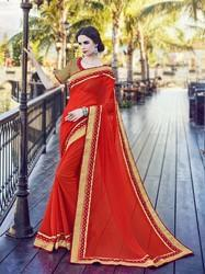 Designer Georgette Plain Saree