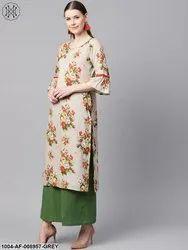 Nayo Floral Gold Khari Printed Straight Kurta