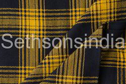 Black And Yellow Tartan Check Fabric, for Garments