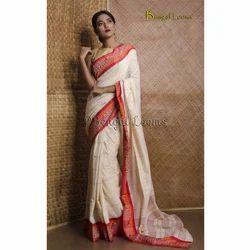860c9f1018 Pure Handloom Khadi Soft Cotton Saree in Off White, Red and Orange ...