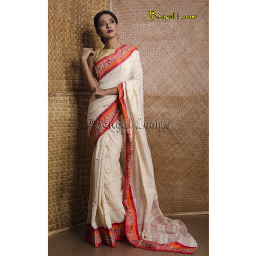 3c89755f27 Pure Handloom Khadi Soft Cotton Saree in Off White, Red and Orange ...