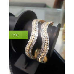 Brass Party Wear Gold Plated Bangle