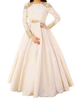 a182cc5b5a86 Of White Full Sleeves Designer Raw Silk Gown In Off White, Rs ...