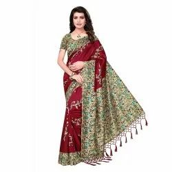 Red Colored Silk Casual Wear Saree