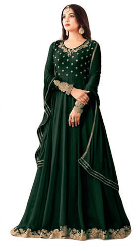 78ff809dd2 Georgette Jacket Style Green Semi-Stitched Party Wear Anarkali Suit ...