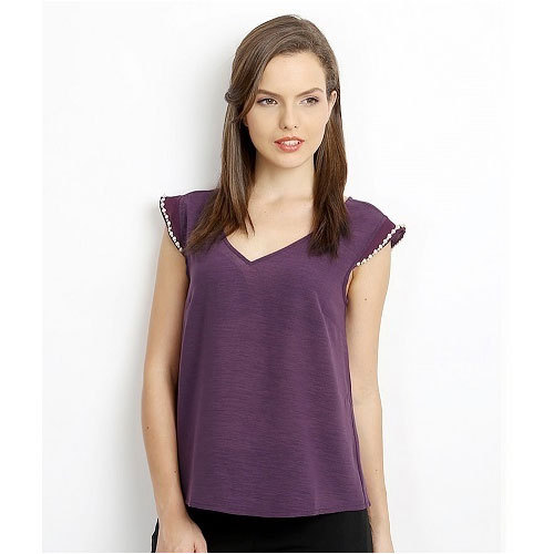 Ladies Polyester Butterfly Back Half Sleeve Purple Top