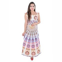 Indian White Peacock Mandala Dress Women Cover Up Kaftan