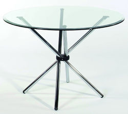 Beau Crystal Furniture Modern Round Glass Top Table