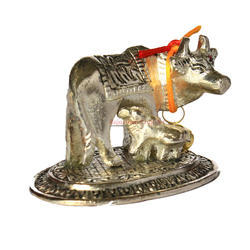 White Metal Small Cow Idol