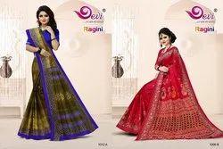 Party Wear Printed Devi Ragini Cotton Saree, 5.5 m (separate blouse piece)