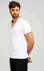 Cotton Plain V Neck Collar T Shirt