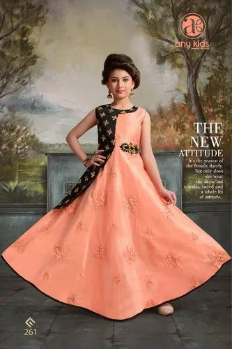 a9a72b8153239 Pink Party Wear Kids Girls Fancy Latest Designer Long Gown, Rs 1299 ...