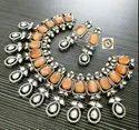 CL Designer Victorian Necklace Monalisa Stones Artificial Jewellery Set