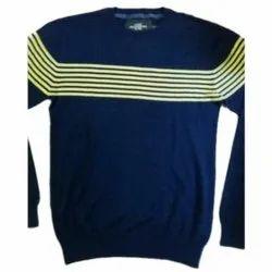 Wool Round Neck Men Blue Stripe Sweater