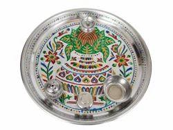 Silver Kalash Designed S.S. Meenakari Puja Thali