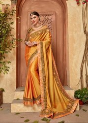 Golden Yellow Embroidered Silk Saree