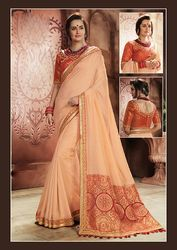 PR Fashion New Peach Colored Designer Saree