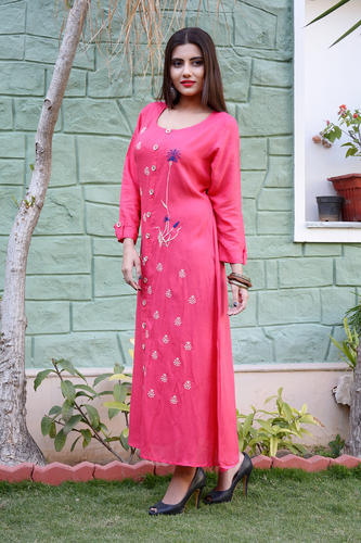 Unstitched Straight Pink Rayon Slub Long Dress With Embroidery bd73c1349