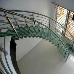 Silver And Black Stainless Steel Staircase Railing
