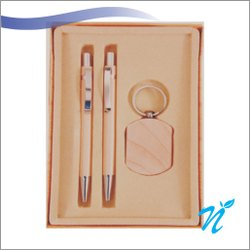 Wooden Gift Set Of 2 Pens & Keychain