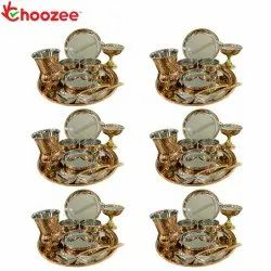 Choozee - Copper Thali Set of 6 (60 Pcs) Plate, Bowl, Spoon, Matka Glass & Ice-Cream Cup