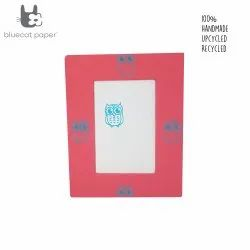 Photo frame - red and white with sky blue owls print.