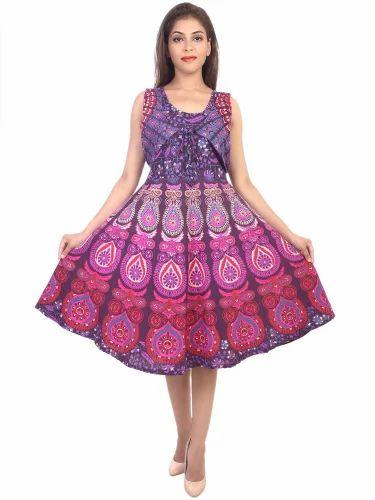 Cotton Sleeveless Rajasthani Printed Short Midi Frock 9857ae930