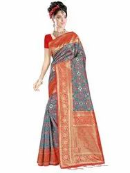 Elegant Art Silk Saree With Blouse Piece By Parvati Fabric